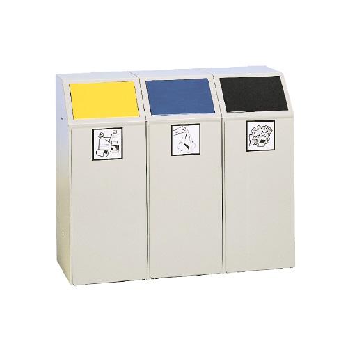 collecteur métallique avec couvercle, poubelle tri recyclage gris couvercle clapet