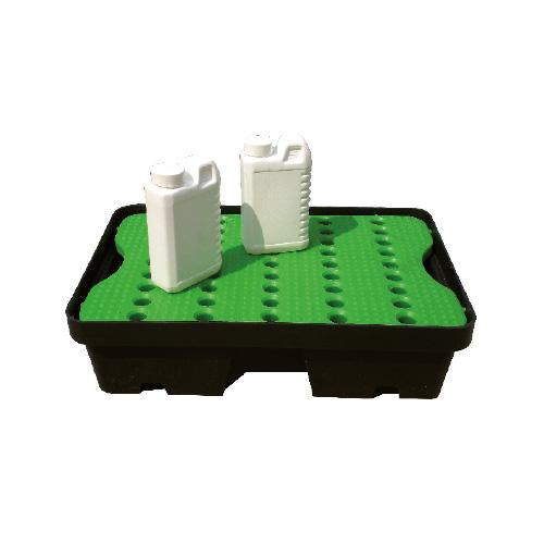 Bac polyéthylène 35 L noir caillebotis vert petits conteants