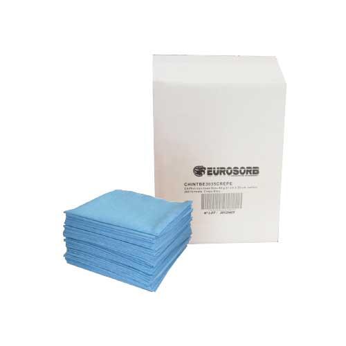 chiffon support lisse et crêpé bleu pour essuyage technique non-tissé