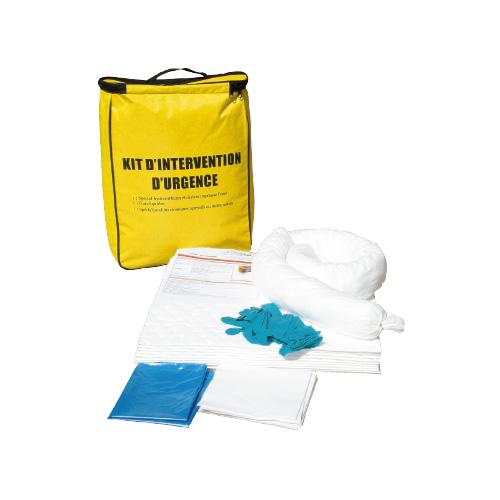 kit d'intervention antipollution en sac 20 L pour pollution par hydrocarbures, tous liquides ou produits chimiques