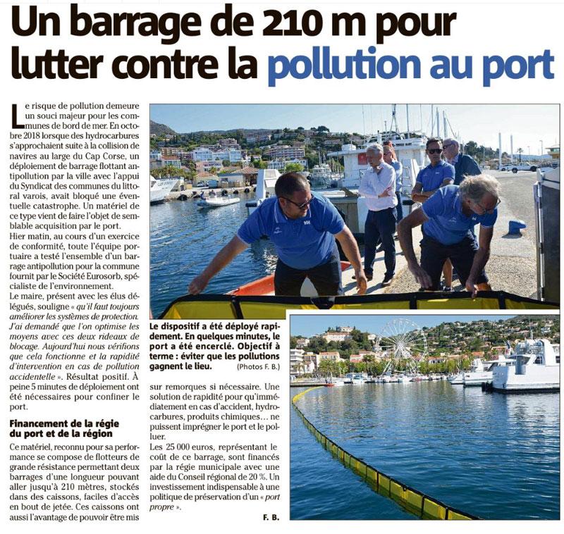 Un barrage de 210m pour lutter contre la pollution au port du lavandou